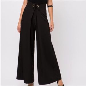 Black Classic wide-leg Palazzo maxi pants • M